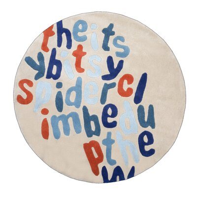 Lorie Itsy Bitsy Spider Hand-Tufted Cream/Blue Area Rug