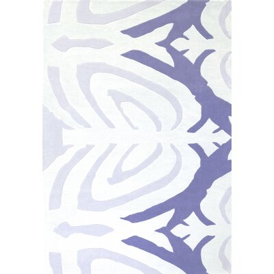 Sidney Hand-Tufted White/Purple Area Rug Rug Size: 37 x 55
