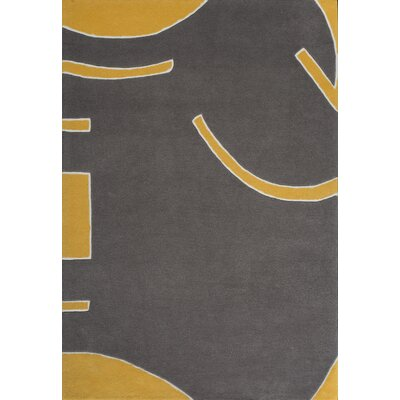 Josue Hand-Tufted Gray/Yellow Area Rug Rug Size: 37 x 55