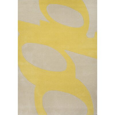 Hand-Tufted Yellow Area Rug Rug Size: 37 x 55