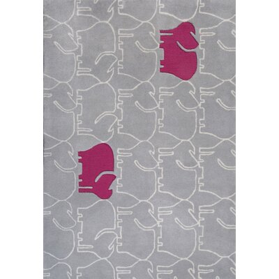 Faith Hand-Tufted Gray/Pink Area Rug Rug Size: 37 x 55