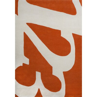Jeramy Hand-Tufted Orange Area Rug Rug Size: 37 x 55