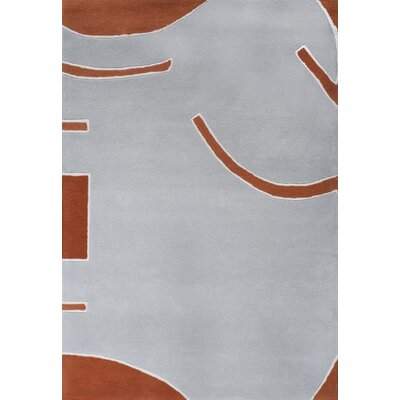 Josue Hand-Tufted Gray/Orange Area Rug Rug Size: 37 x 55