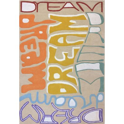 Lou Dreams Rainbow Hand-Tufted Yellow/Orange Area Rug Rug Size: 37 x 55
