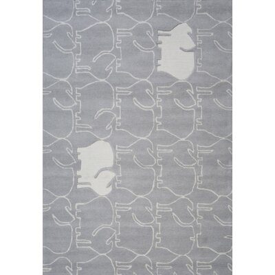 Faith Hand-Tufted Gray/White Area Rug Rug Size: 37 x 55