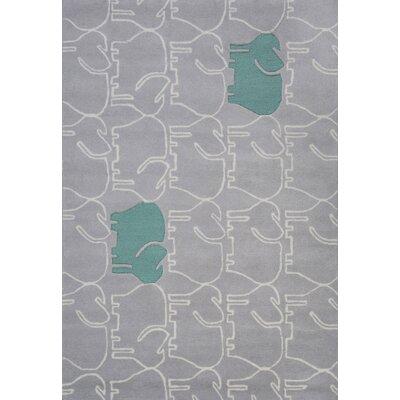 Faith Hand-Tufted Gray/Teal Area Rug Rug Size: 37 x 55