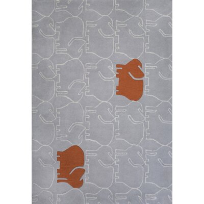 Hand-Tufted Gray/Orange Area Rug Rug Size: 37 x 55