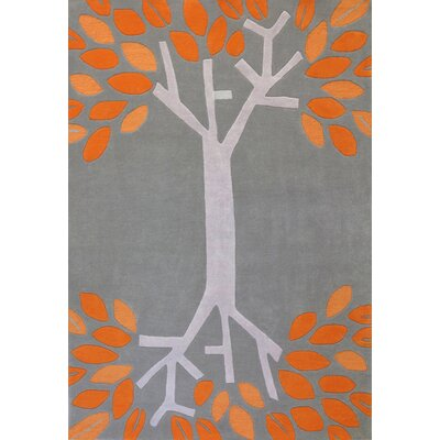 Nelda Hand-Tufted Gray/Orange Area Rug Rug Size: 37 x 55
