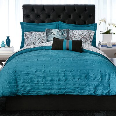 Relaxed Crinkle 3 Piece Comforter Set Size: Full/Queen, Color: Teal