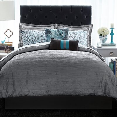 Relaxed Crinkle 3 Piece Comforter Set Size: King, Color: Gray