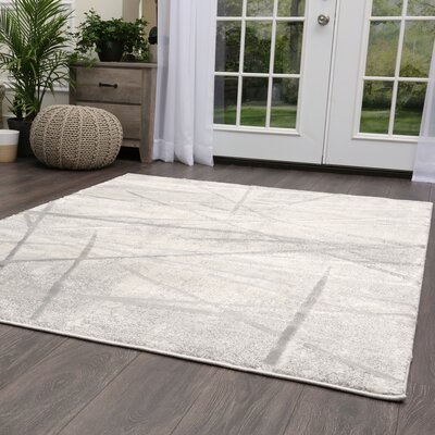 Roma Abstract Gray Area Rug Rug Size: Rectangle 53 x 72