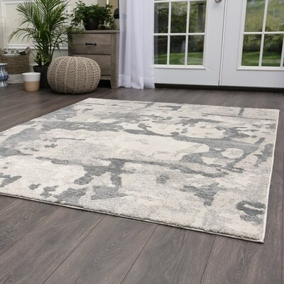 Roma Marble Gray Area Rug Rug Size: Rectangle 53 x 72