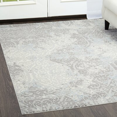 Brooksville Ivory/Gray Area Rug Rug Size: Rectangle 27 x 311