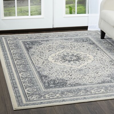 Jersey Medallion Ivory/Gray Area Rug Rug Size: Rectangle 79 x 102