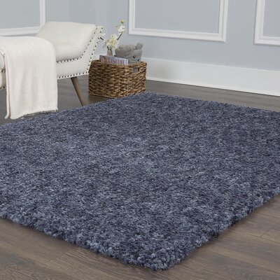 Chelsea Solid Shag Blue Area Rug Rug Size: Rectangle 79 x 102