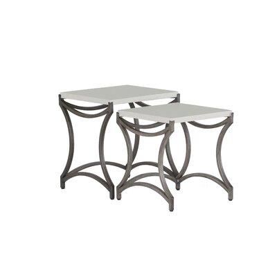 Caroline Iron Nesting Table Finish: Charcoal/Travertine