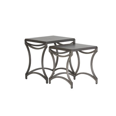 Caroline Iron Nesting Table Finish: Charcoal/Black Walnut