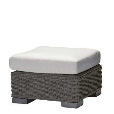 Rustic Wicker Ottoman with Cushion