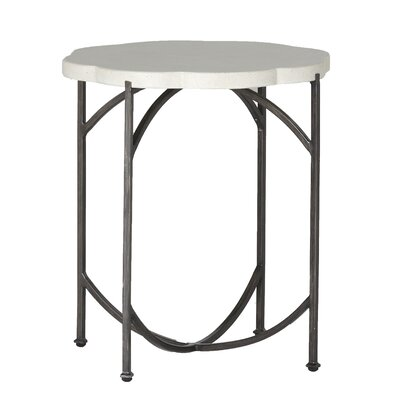 Gillian Iron Side Table Finish: Charcoal/Travertine