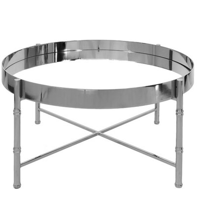 Round Coffee Table with Tray Top Finish: Nickel