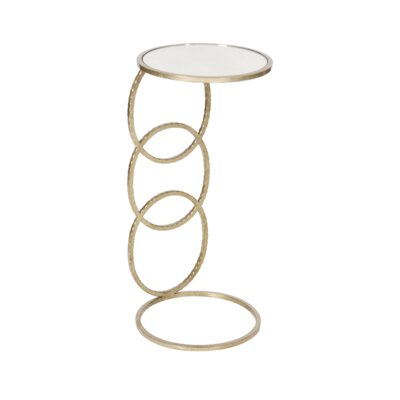 3 Ring Hammered Round Cigar C Table Finish: Silver