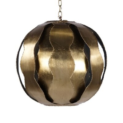 Wave 1-Light Globe Pendant Finish: Gold