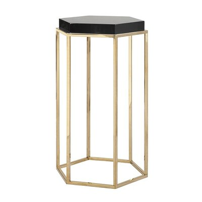 Elsa Hexagonal Occasional Table Finish: Black Lacquer/Brass