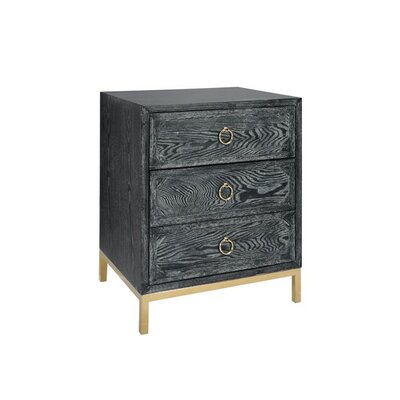 3 Drawer End Table Finish: Brass