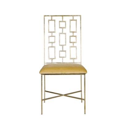 Upholstered Dining Chair Upholstery Color: Beige Velvet, Frame Color: Silver Leaf