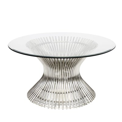 Coffee Table Size: 18 H x 30 W x 30 D, Base Color: Polished Stainless