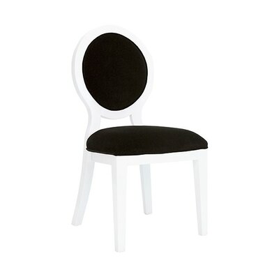 Oval Upholstered Dining Chair Upholstery Color: Black Velvet, Frame Color: White Lacquer