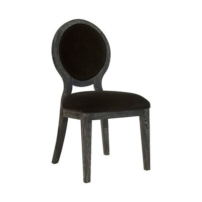 Oval Upholstered Dining Chair Upholstery Color: Black Velvet, Frame Color: Black Cerused