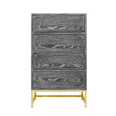 Upright 4 Drawer Dresser Color (Base/Top): Black Cerused Oak/Brass