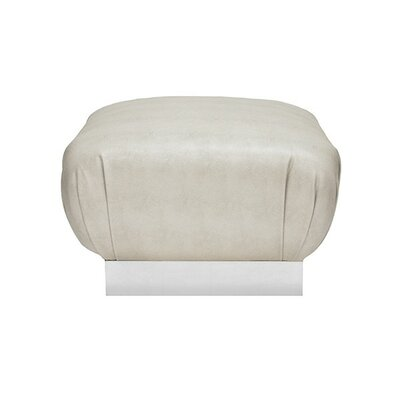 Ottoman Upholstery: Beige, Finish: Silver Leaf