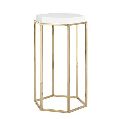 Elsa Hexagonal Occasional Table Color: White Lacquer/Brass