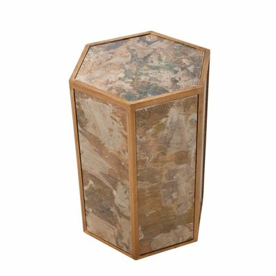 Reverse Antique Mirror End Table Color: Gold Leaf