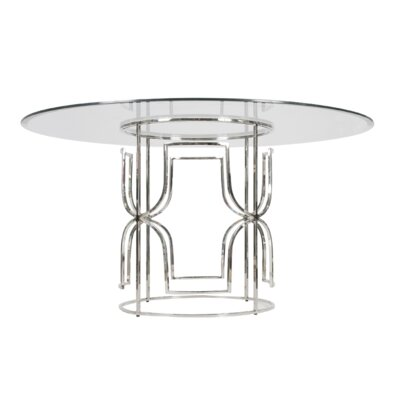 Dining Table with Glass Top Finish: Nickel Plated, Size: 30 H x 54 W x 54 D