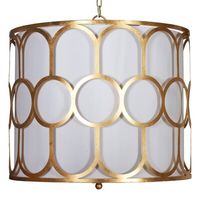 Art Deco Style 3-Light Drum Pendant Finish: Gold