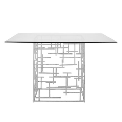 Abstract Dining Table with Glass Top Finish: Silver Leaf, Size: 29.5 H x 48 W x 48 D