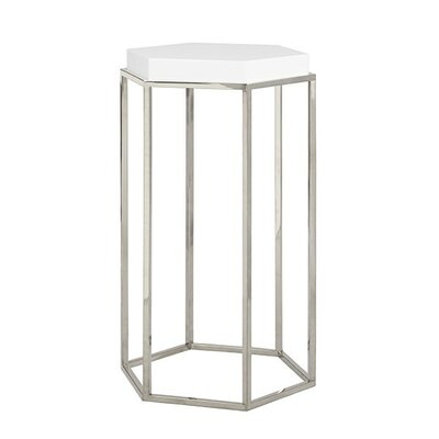 Elsa Hexagonal Occasional Table Finish: White Lacquer/Nickel