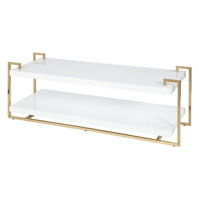 2 Tier Coffee Table with Magazine Rack Finish: Brass