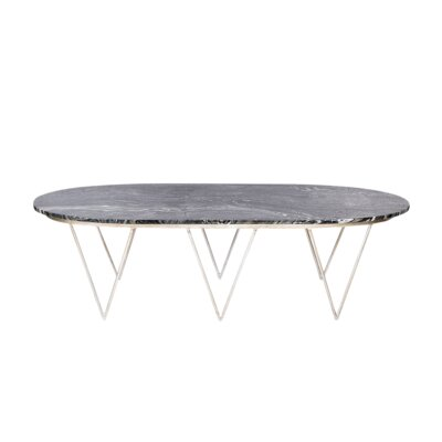 Coffee Table Top Finish: Black Marble, Base Finish: Silver