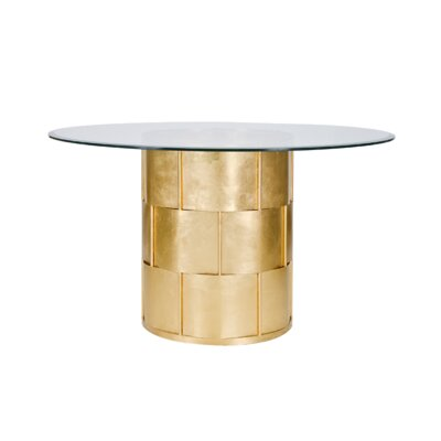 Basketweave Dining Table with Glass Top Finish: Gold Leaf, Size: 30 H x 54 W x 54 D