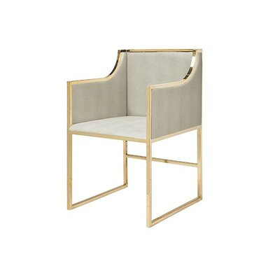 Upholstered Dining Chair Frame Color: Brass, Upholstery Color: Beige Faux Shagreen