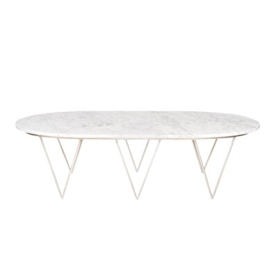 Coffee Table Base Color: Silver, Top Color: White Marble