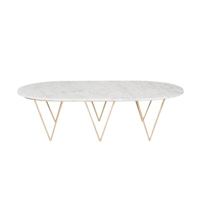 Coffee Table Base Finish: Gold, Top Finish: White Marble