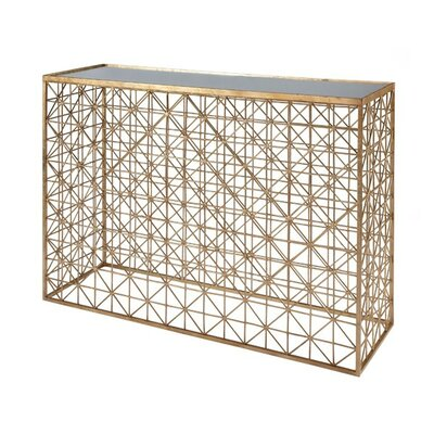 Crosshatch Console Table Finish: Gold