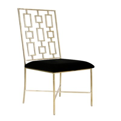 Upholstered Dining Chair Upholstery Color: Black Velvet, Frame Color: Silver Leaf