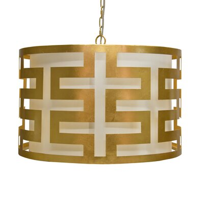 Greek Key 3-Light Drum Pendant Finish: Gold Leaf