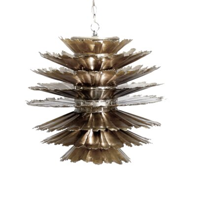 Iron Pierced 1-Light Geometric Pendant Finish: Champagne Silver